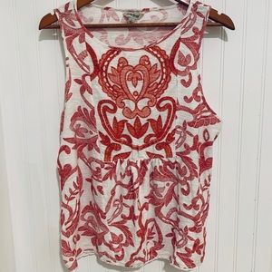 Lucky Brand boho red white embroidered Top L